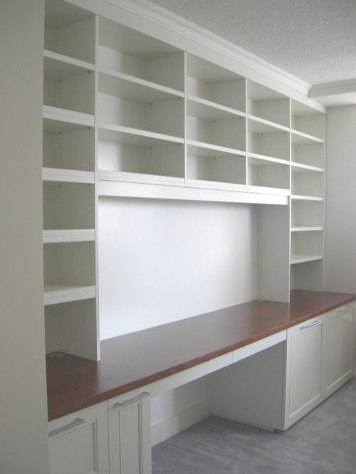 good use of space above desk, but enclose some.Scrapbook Room, Sewing Room, Ideas, Built In, Crafts Spaces, Crafts Room, Book Shelves, Home Offices, Craft Rooms