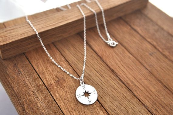 Sterling Silver Compass Necklace, Compass Pendant, Compass Necklace, compass…
