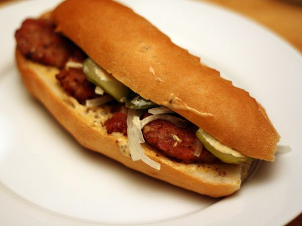 Andouille Po' Boy 'Creolaise from Serious Eats. http://punchfork.com/recipe/Andouille-Po-Boy-Creolaise-Serious-Eats