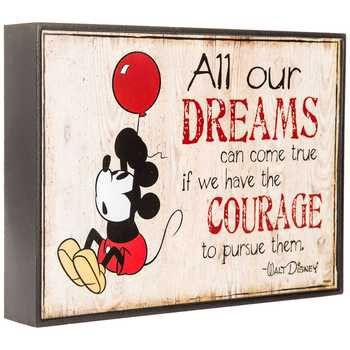 Animate your walls with adorable signs featuring inspirational quotes and cute characters. All Our Dreams Mickey Mouse Sign features a quote from Walt Disney and Mickey Mouse holding onto a red balloo