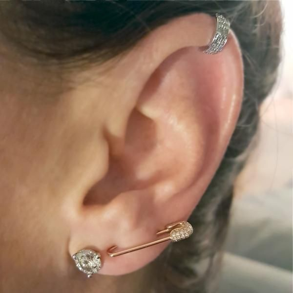 Diamond Safety Pin Earring topped off with a diamond mini-cuff from The EarStylist by Jo Nayor. www.EarStylist.com