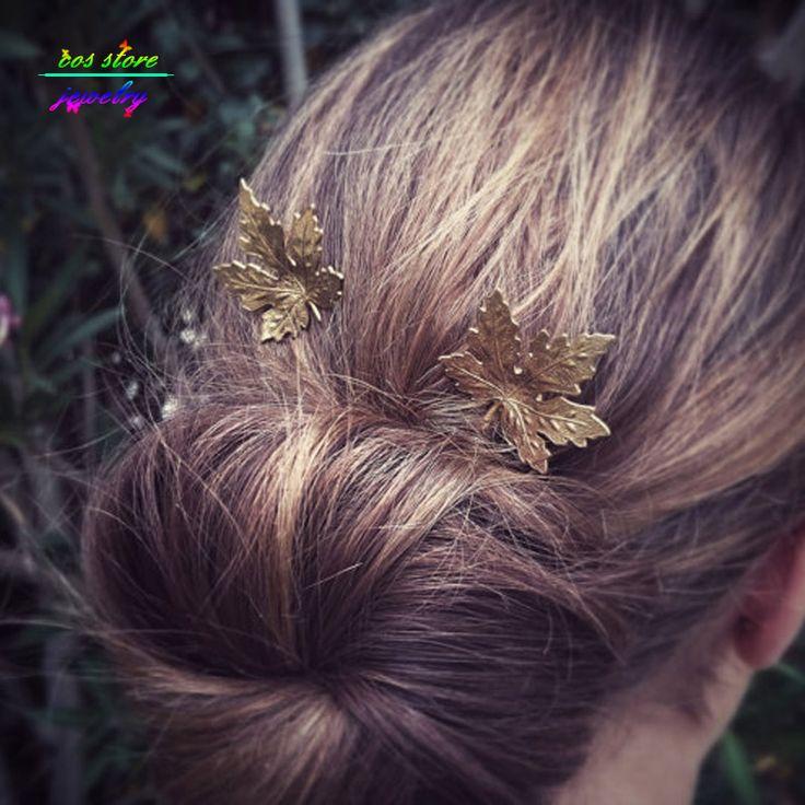 Vintage Moda Saç Takı Altın Akçaağaç Yaprağı Bobby Pin Woodland Saç Aksesuarı Maple Leaf Bobby Pin Düğün Saç Aksesuarları