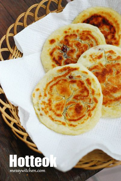 Hotteok is a sweet Korean pancake filled with oozing melted brown sugar, cinnamon and nuts.