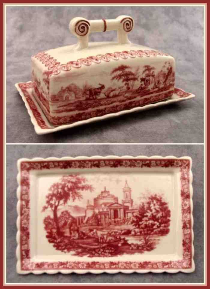 victorian butter dish | PORCELAIN RED & CREAM TOILE BUTTER DISH