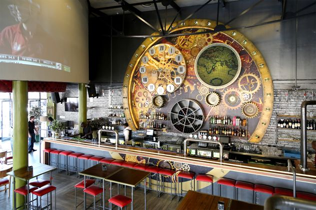 The interior at The Steamworks Gastropub in Lonehill, Johannesburg. Recommended dishes include tandoori chicken; deboned leg of lamb and homemade mint sauce; and aged minute steak with tomato jam, wild rocket and cambozola cheese.