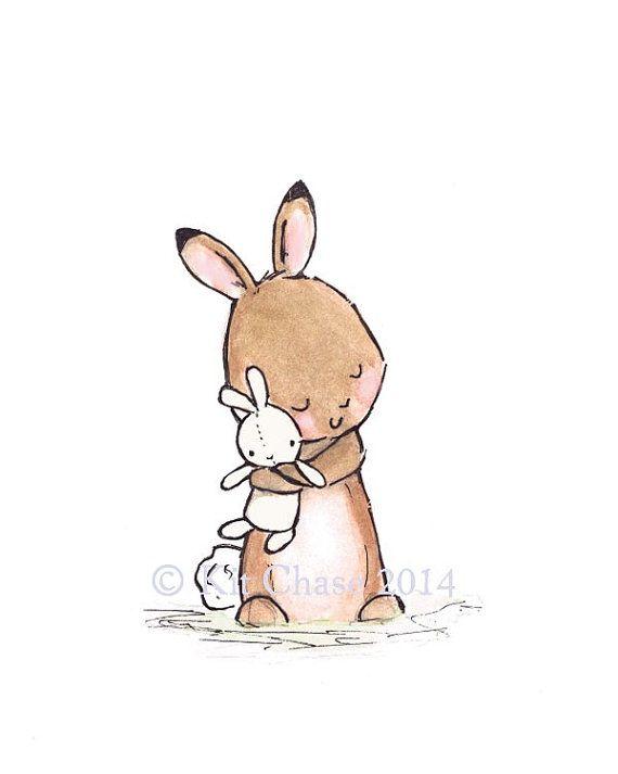 Children's Art BUNNY LOVE Archival Print by trafalgarssquare, $10.00 #woodland #bunny nursery #bunny baby