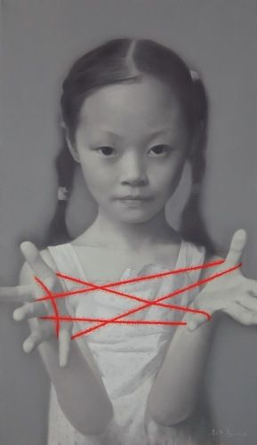 "by Zhu Yi Yong (was born in Chongching, Sichuan Province, in 1957) | Zhu is known for his iconic series ""Memories of China,"" a monochrome series of oil portraits featuring girls playing cat's cradle with red string."