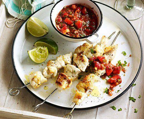 Fischspiesse mit Erdbeer-Koriander-Salsa