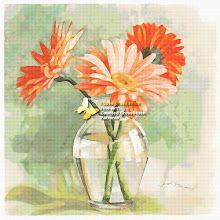 GerberasTangerine Gerbera (cross stitch, вышивка крестом) - Analia Gabriela Frola - Picasa Web Albums