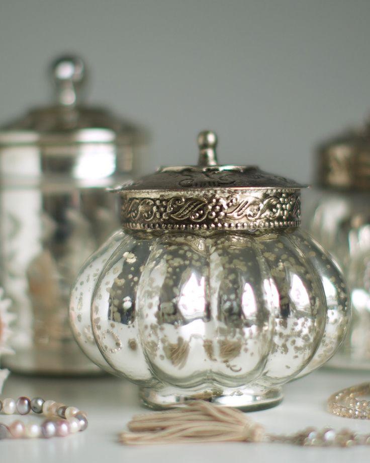Antique Silver Bath Accessories: Buy An Antique Glass Pumpkin Shape Trinket Jar With Metal