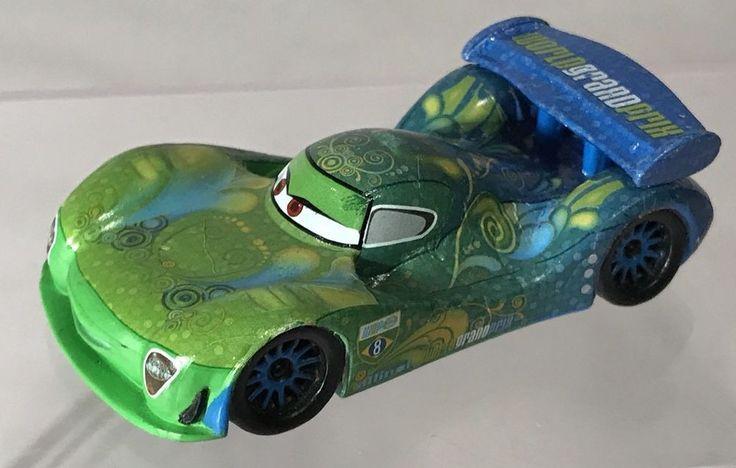 Disney Pixar Cars WGP World Grand Prix Carla Veloso Blue Green Rubber Race Car #Mattel