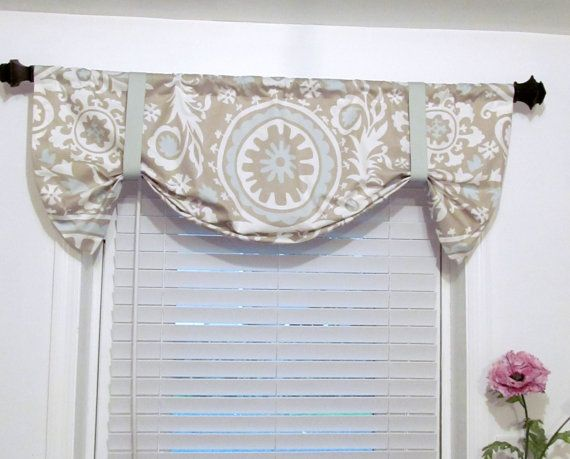 tie up curtain valance suzani twill powder by supplierofdreams window treatments. Black Bedroom Furniture Sets. Home Design Ideas