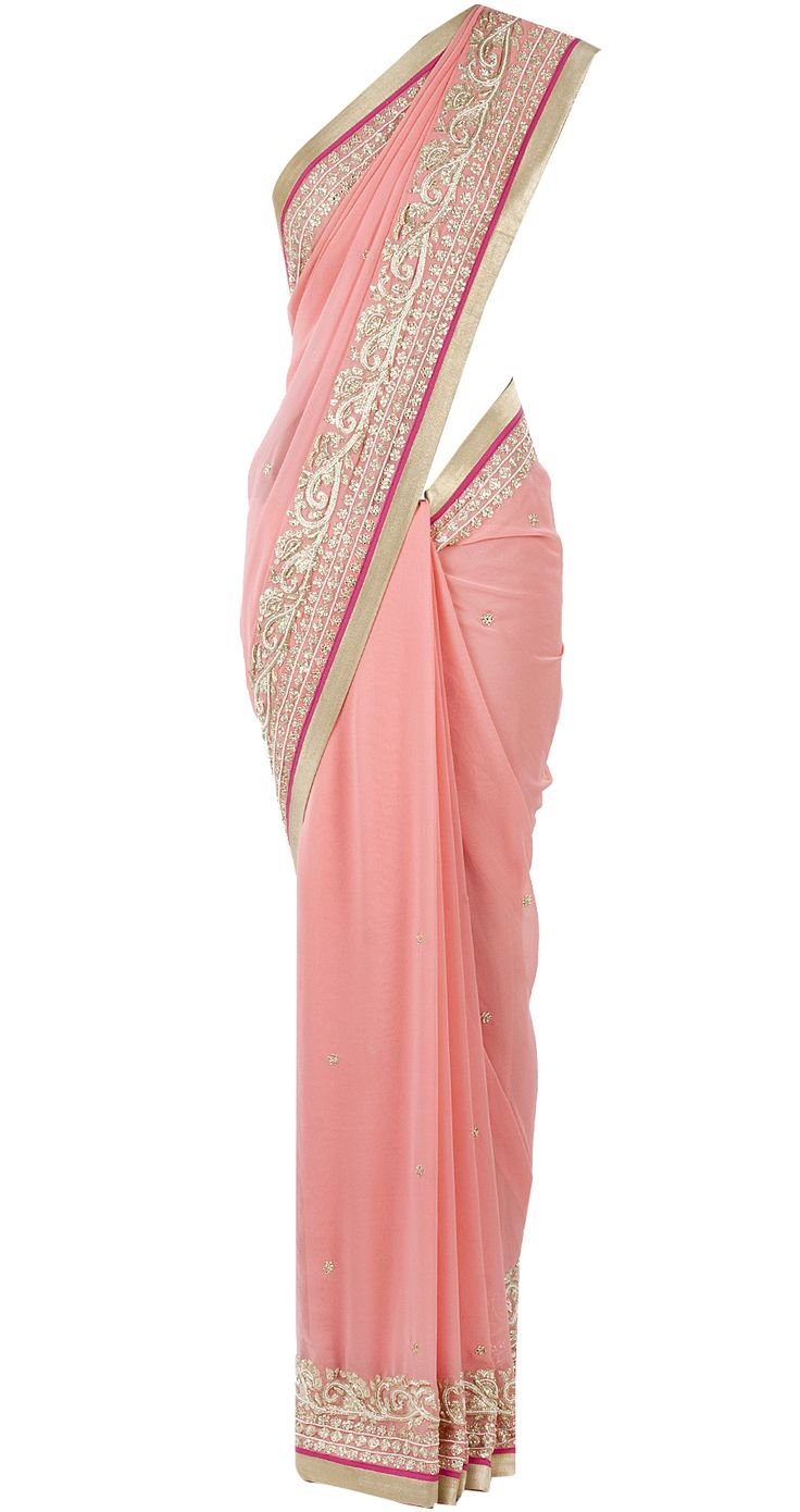 Pink georgette sari with gold border by SVA. Shop now at perniaspopupshop.com