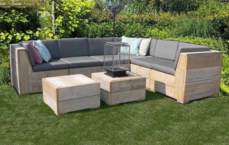 Scaffold Wood-steigerhouten Corner lounge set-hoekbank garden-tuin.