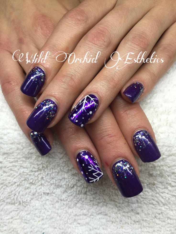 Purple nails. Glitter. Gel nails. Nail art. Christmas nails. Snowflake nails.