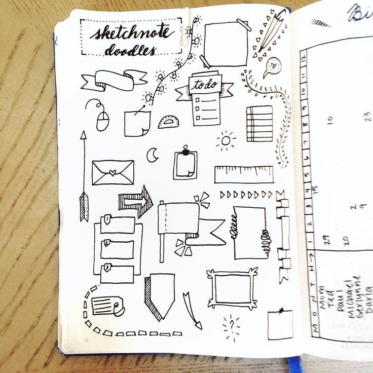 """my sketchnote doodles page heavily inspired by @therevisionguide and @boho.berry!! I'm so in love with the way this turned out """