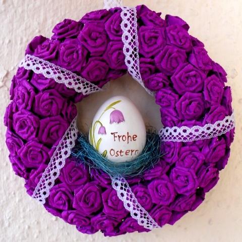Húsvéti lila ajtódísz kerámia tojással, Dekoráció, Otthon, lakberendezés, Dísz, Húsvéti mindenféle, #meska #easter #wreath