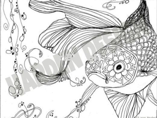 Adult Coloring Page Fantail Goldfish By On Etsy With Pages