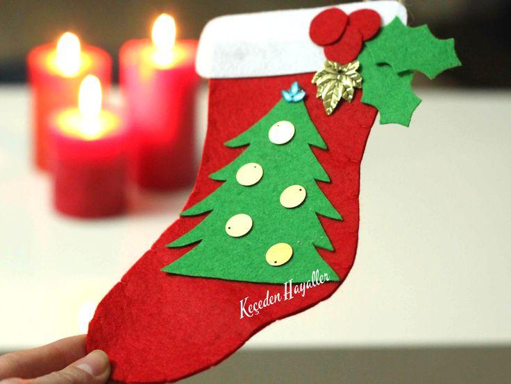 Christmas sock felt craft - yılbaşı çorabı