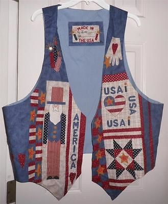 Scarves Hats and Accessories 160661: Americana Vest Hand Made Ladies Usa Uncle Sam Flag Handcrafted Ready To Wear New -> BUY IT NOW ONLY: $30 on eBay!