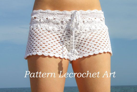 Pattern crochet white beach shorts and shorts color of summer - pattern PDF on Etsy, $6.90