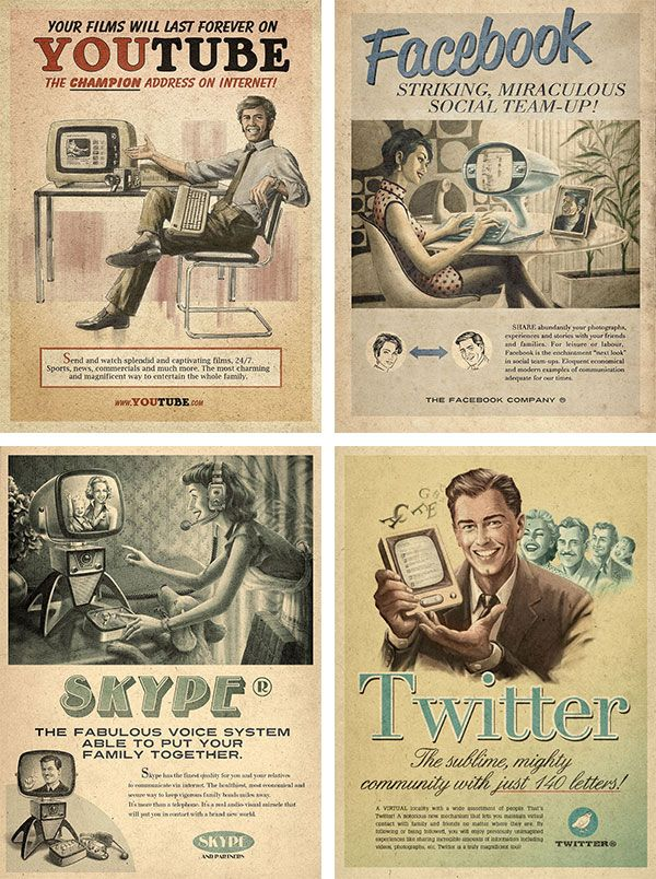 Social media rendered as vintage ads, posters and book covers.
