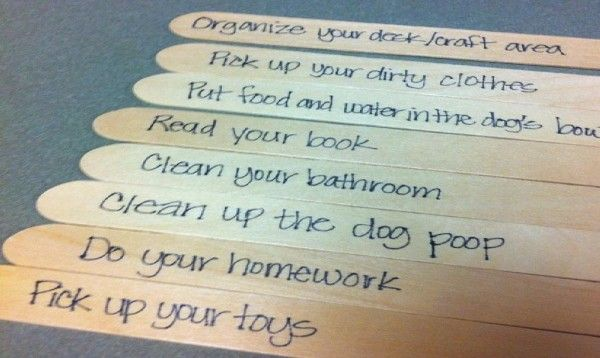 """Trying out a chore stick system in our house for the kid. The men folk in my house need a """"list"""" to see that things need to be done around here."""