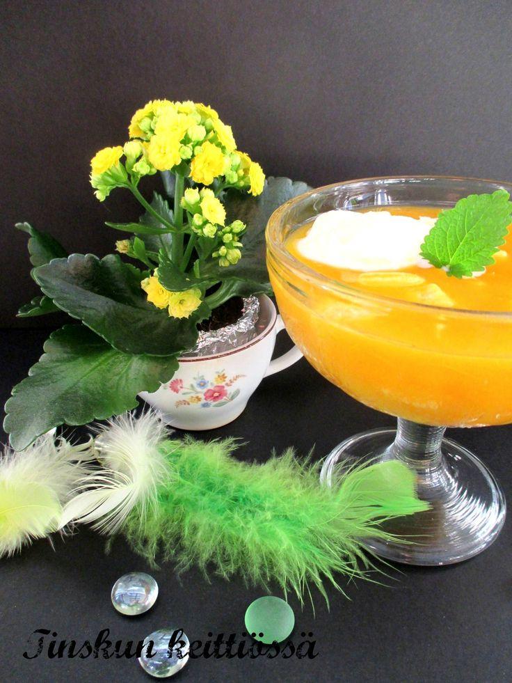 Helppo ja raikas tyrni- appelsiinikiisseli. Väriä pääsiäispöytään: Tinskun keittiössä