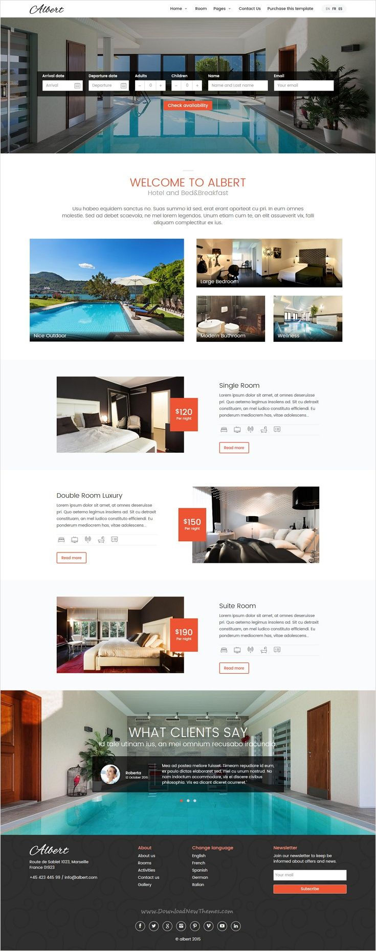 Albert is wonderful responsive 6 in 1 #WordPress #theme suitable for #hotels, accommodations and resorts website download now➩ https://themeforest.net/item/albert-hotel-and-bedbreakfast-wordpress-theme/16889431?ref=Datasata