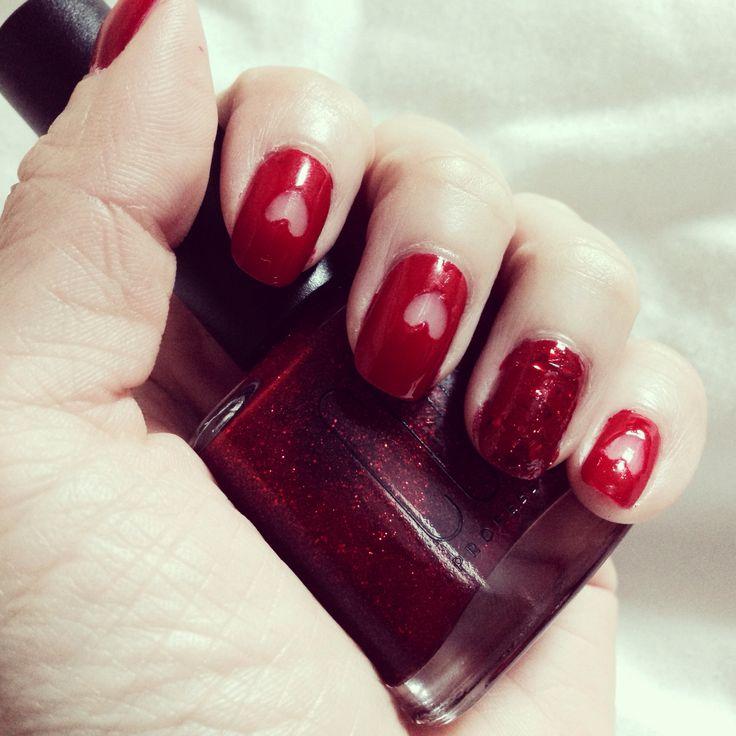 red heart nail art