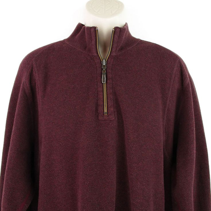 Tommy Bahama XL Sweater Mens Burgundy Red Long Sleeve Pullover Shirt Quarter Zip #TommyBahama #14Zip