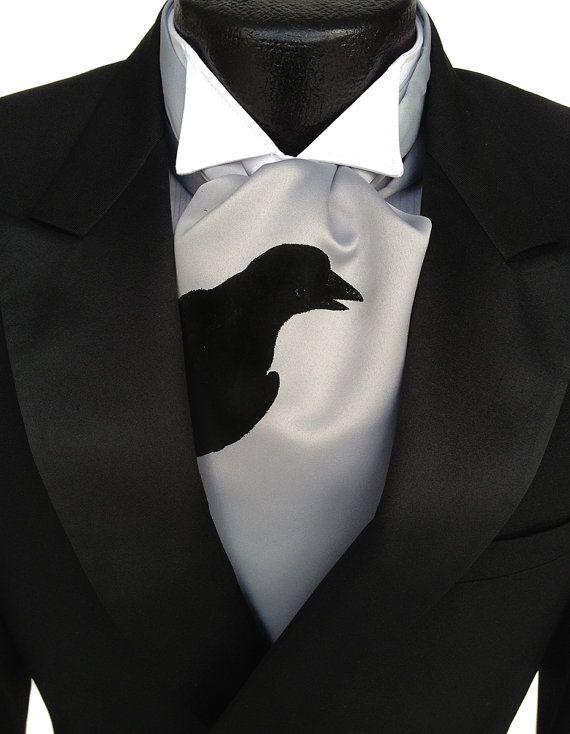 Raven cravat tie. Self tie mens ascot crow print. by Cyberoptix, $42.00