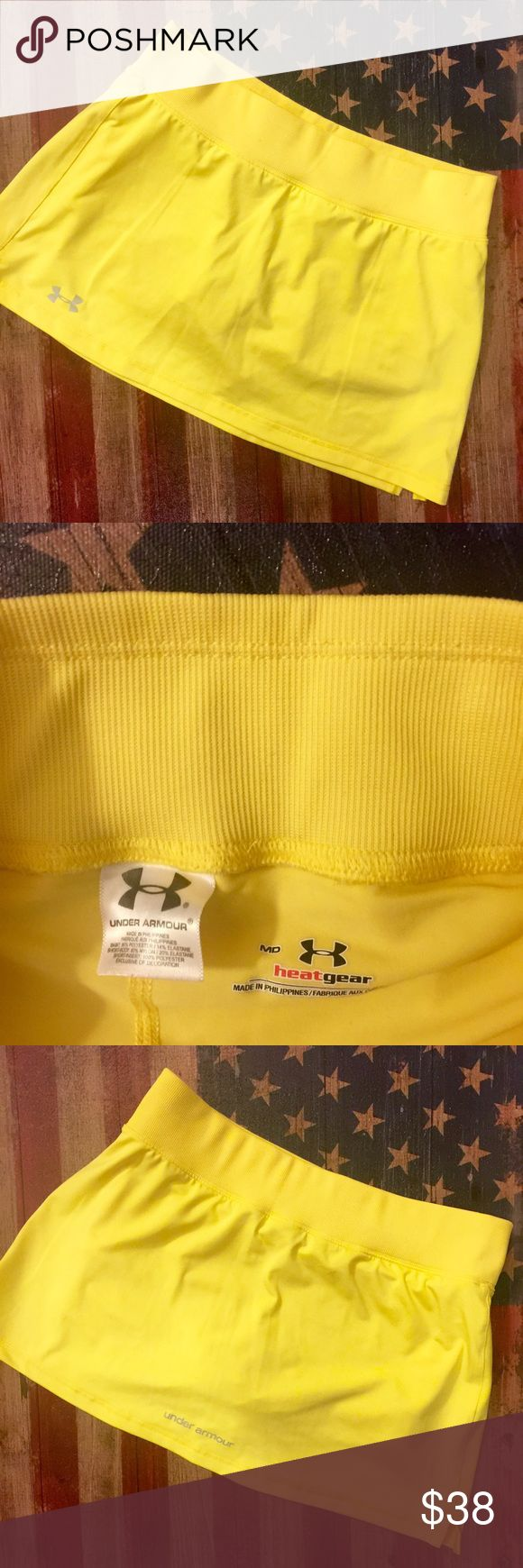 Under armor tennis skirt Adorable yellow under armor golf/tennis skirt. Worn only a handful of times. Super flattering on, shirts underneath Under Armour Skirts Mini