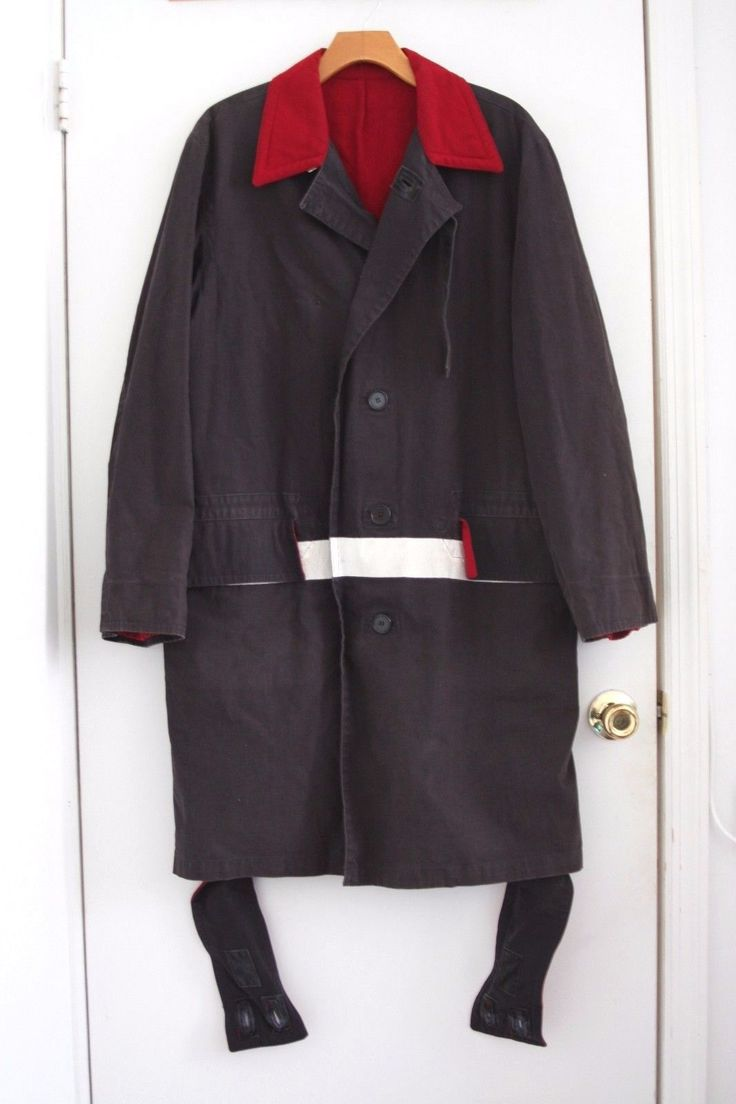 Unique Helmut Lang 1997 Navy Overcoat w Paint Stripe Bondage Straps 46 | eBay