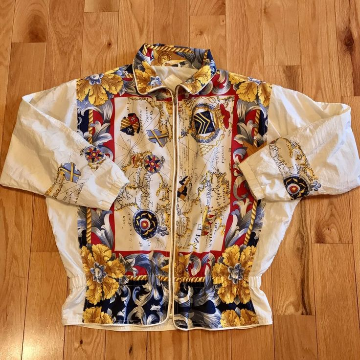 209 best beautiful cool ebay clothes images on pinterest beautiful vtg 90s winterset old world map silky bomber jacket size medium m gold zipper ebay gumiabroncs