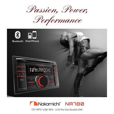 NA780 - Passion, #Performance, Power:  Double Din CD/ USB (front & rear) receiver, Mosfet 4 x 50W with front Aux in,2 Volt RCA out, Blue button illumination, 9 segment STN LCD, 3 band audio IC and AM/ FM tuner. NA780 is equipped with 1A Smart phone charging through #USB.  #NakamichiSA #InCarEntertainment #CarAudio