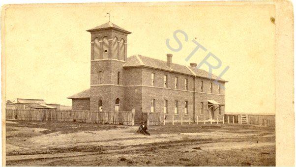 """Grammar School, Goulburn"" possibly the original building at Bourke Street Public School, now demolished.  Date unknown."