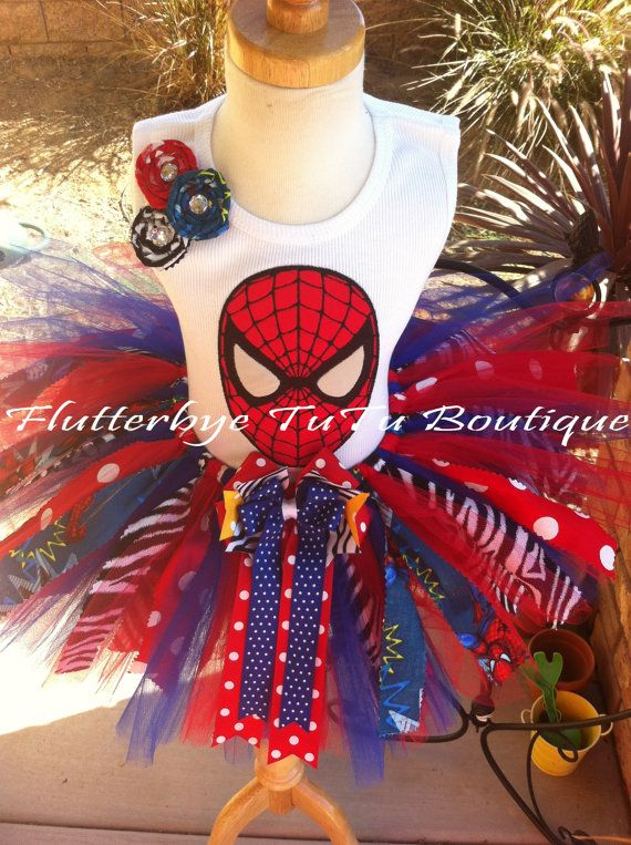 Shabby Miss Spider-Man TuTu Set w/ Fabric Rosettes on Etsy, $58.50. Top is $26. I can't bring myself to spend $84 plus shipping on this outfit. Yet....