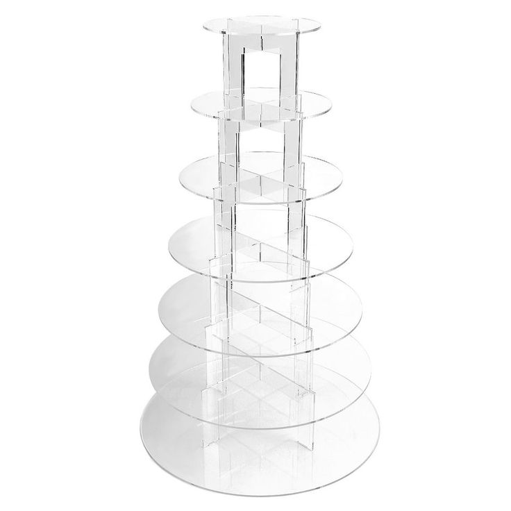 7-Tier Round Clear Acrylic Plastic Party Tiered Cupcake Wedding Cake Plate Stand