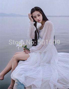 Volledige mouw chiffon lange jurk middeleeuwse jurk prinses kostuum victorian renaissance gothic lo/marie antoinette