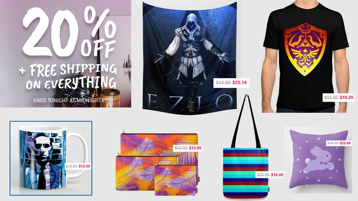 20% OFF + FREE SHIPPING on Everything!!! Sale ends tonight  at Midnight PT. #sales #discount #save #freeshipping #salegifts #tshirt #zelda #gaming #gamer #walltapestry #ezioposter #lovecraftmug #coffeemug #pouch #organize #giftsforhim #giftsforher #summer #summerbag #totebag #style #colors #colorful #fashion #society6 #babybunny #babygifts #babyshowergifts #bunnypillow #throwpillow