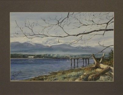 Comox Harbour - End of Winter - Acrylic on Paper - Paintings by Stephen Cole