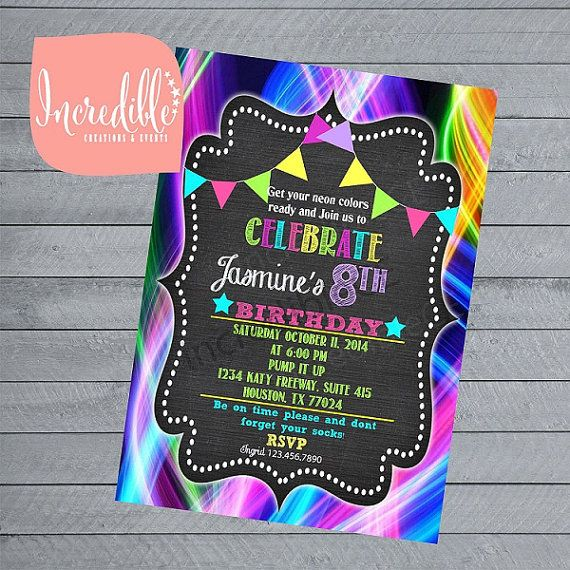 neon birthday chalkboard invitation glow in the by incrediblece incrediblece