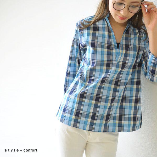 【楽天市場】style+confort スティルエコンフォール マドラスチェック スキッパーシャツ・401-63814(全2色)(M)【2014春夏】:Crouka(クローカ)