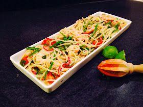 Mina matminnen: Spagetti med räkor, koriander, lime och gröna bönor