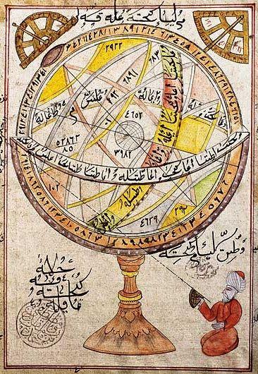 Islamic armillary sphere - XVI Century manuscript