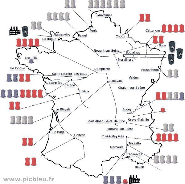 Carte des 19 centrales nucléaires en France, usines et stockage | Centrale nucléaire, Centrale ...