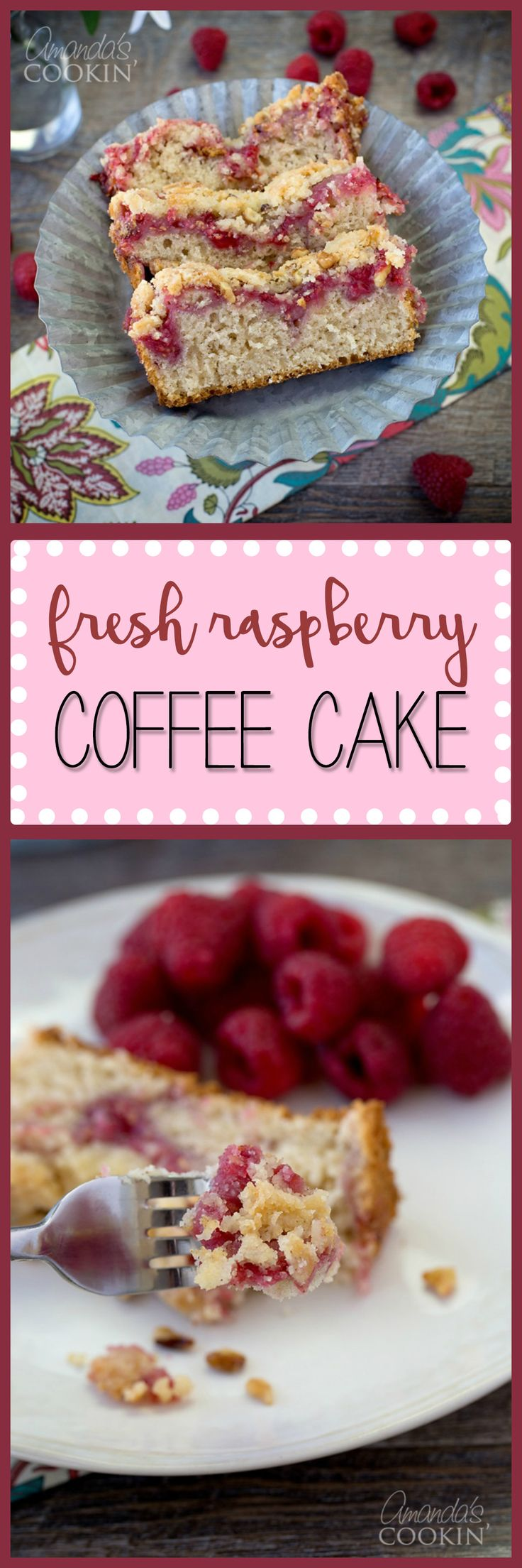 This Raspberry Coffee Cake is a delicious and subtly sweet side to your everyday cup of joe making an altogether scrumptious morning wake-me-up!