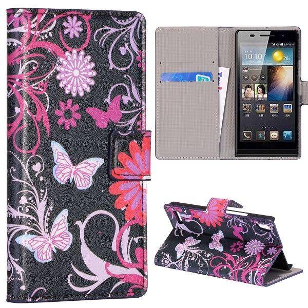 Roze vlinders bookcase hoesje voor Huawei Ascend P6