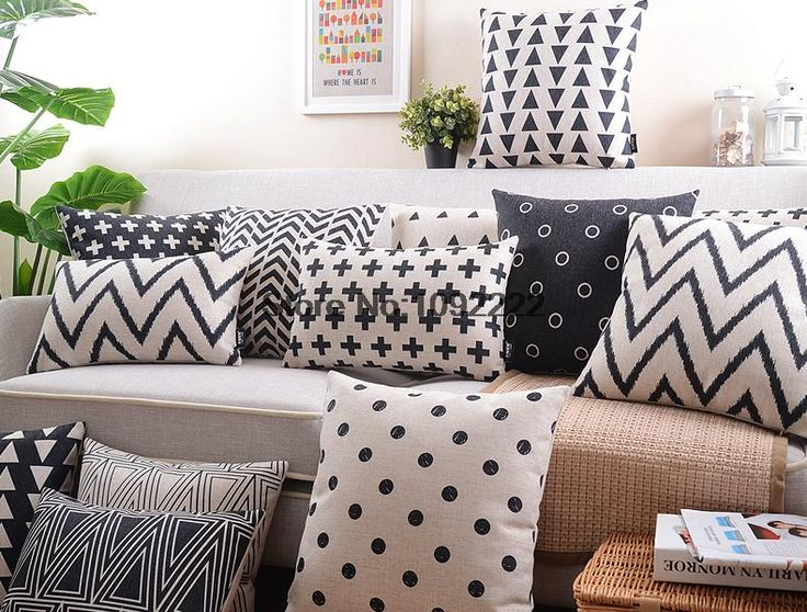 Nordic Style Cushion Cover Decorative Pillows Case Gray Cushion Cover Home Decor Geometric black and white pillow cover